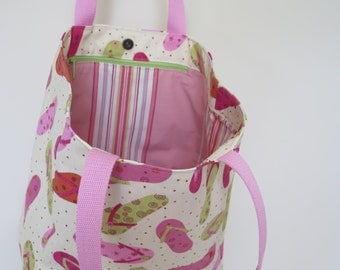 FREE SHIPPING Pink and Green Sturdy Tote with Zippered Pocket