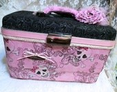 Skulls Train Case Upcycled Makeup Case Embellished Decoupaged Vintage Chic