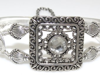 Satin Finish Floral Silver Plated Spoon Bracelet with Square Focal Bead and Crystal