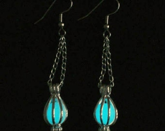 Enchanted Caged Full Moon Earrings Glow In The Dark Earrings Antique Bronze And White (glows aqua blue)