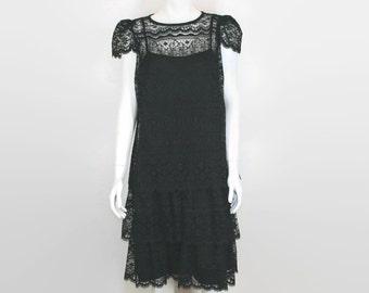 lace dress black 1970s Nu-Mode