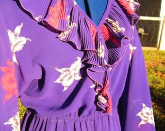 Purple Dress Ruffled Dress Womens Small Medium  Silky Purple Dress  Ruffled Dress  Easter Dress Party Dress Vestida Fiesta FREE US Shipping