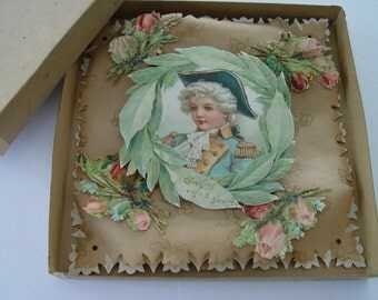 Victorian Stand-up 3D Greetings card, Die-cut 'Greetings of a Friend', Very large, Original box, Vintage, WAntique