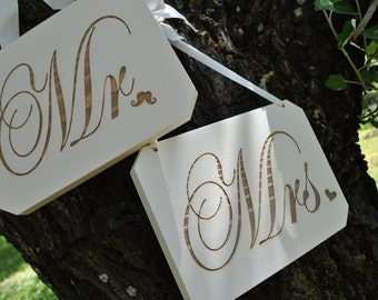 Mr and Mrs Hand Painted Laser Engraved Wedding Signs Gold Font.