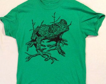 Tree Frog!! Hand-printed Limited Edition Relief Block T-Shirt