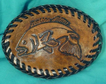 Oval Hand-Tooled Leather BASS Belt Buckle - L082