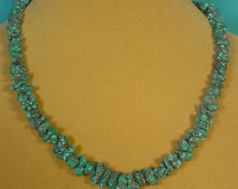 "Incredible 18"" Turqouise nugget necklace on Silver Matrix! - N288"