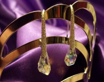 Earrings Clear Swarovski Prism Crystals Sterling Silver Hardware