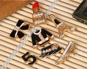 7PCS/Set Fashion crystal Black Clothes Lipstick Tower Flatback Alloy jewelry KIT for diy phone case deco