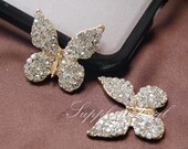 2pcs Bling Golden Crystal Butterfly Flatback Alloy jewelry accessories materials supplies
