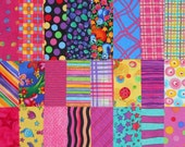 Quilt Fabric Squares, 5 inch, Bright Colors with Pinks and Purples Charm Pack
