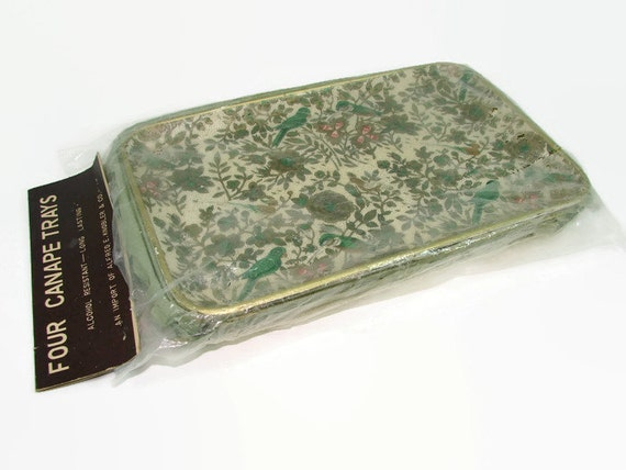 4 trays alfred e knobler paper mache canape trays by for Canape trays