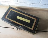 Vintage Document Box With Key Metal Tin Box