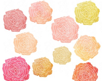 Watercolor Flowers Clip Art in Perfect Pinks, Yellows, and Peaches: High Quality, Hand Drawn and Printable