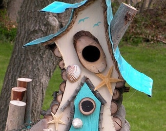 bird house, Birdhouse, beach decor, Nautical birdhouse in color options, functional, garden art with a twist, unique and whimsical
