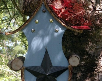 bird feeder, Star bird feeder, country style birdfeeder in color options with tin stars, garden art, lawn ornament, patriotic