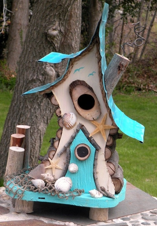 Bird house birdhouse with insulated metal roof nautical for Creative birdhouses