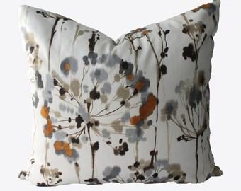 Decorative Floral Grey Pillow Cover, 18x18, 20x20, 22x22 or Lumbar Throw Pillow