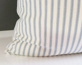 Ticking Stripe Pillows - Blue and white ticking stripe pillow cover - Pillow -  Pillow Cover Stripe Ticking Fabric - ticking stripe bedding