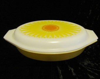 Pyrex Yellow Daisy 1.5 Quart Divided Covered Casserole