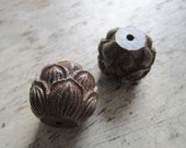 Lotus flower beads - 2 pcs. large carved wooden beads with lotus flower design, lotus beads, , large focal beads, Buddhist beads, yoga beads