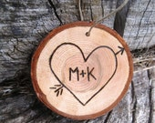 Wood Slice - First Christmas Together- Custom Initials in Heart Christmas Ornament, Love,