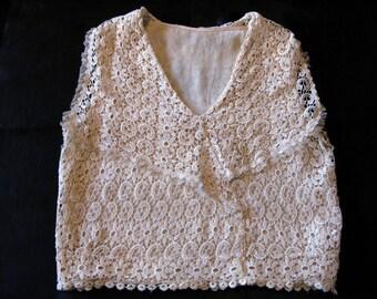 Vintage Lace Top For Women, Blouse Vest Lace Topper Venise Lace, Venetian Lace, Point De Gaze,