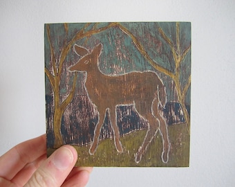 Fawn mini painting on wood panel