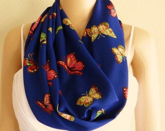Butterfly Print Infinity Scarf. Butterfly Print Circle Scarf. Blue Pattern Loop Scarf. Soft Printed Chiffon Scarf.