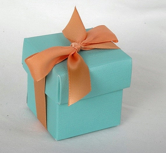 Aqua Wedding Favor Boxes : Items similar to favor boxes aqua turquoise blue robins