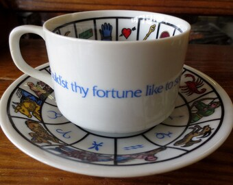 Knobler and Co. Japan, Vintage Astrology, Fortune Telling, Tea Leaf reading cup and Saucer, Very vivid and Beautiful Colors