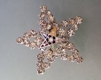 Vintage Estate Masonic Eastern Star Prong Set Rhinestone Brooch Pin, Mint