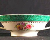 Stetson 8 Inch Vegetable Serving Bowl with Green Band and Floral Design Vintage 1940s RARE