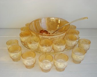 Vintage Punch Bowl Set Cera Glass 23 Piece Gold Punch Bowl Serving Set