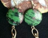 Ruby Zoisite Goddess Dangle Earrings