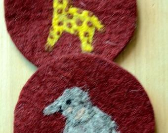 Gift Idea: A Set of 2 Needle Felted Coasters (Giraffe and Elephant)