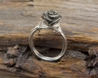 handmade wirewrapped ring - gemstone flower ring - pyrite rose ring - sterling silver ring - handmade jewelry - carved rose- size 5.5 to 10