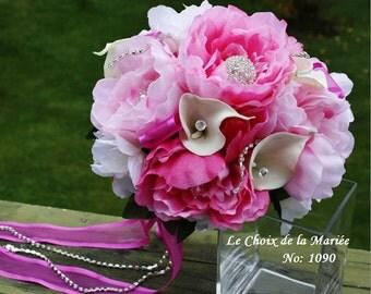 Cream white and fuchsia wedding bouquet/Wedding  bouquet/Pink bouquet/Peony and calla lily bouquet/Rhinestones bouquet/Shabby chic bouquet/