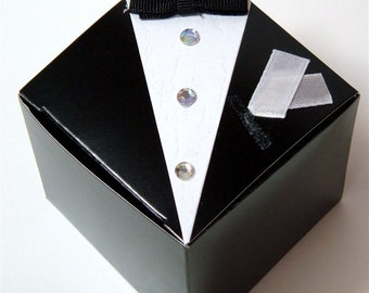 Wedding Favor Boxes Tuxedo (12 boxes); wedding favor boxes; unique wedding favors; candy favor boxes