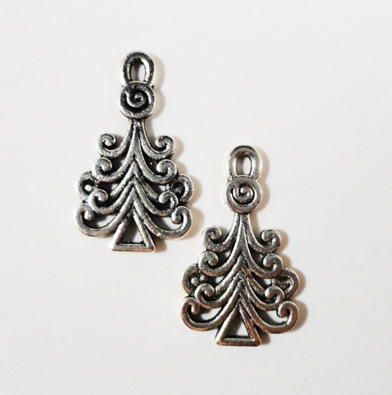 Christmas Tree Charms 23x13mm Antique Silver Metal Evergreen Pine Tree Holiday Christmas Charm Pendant Jewelry Making Jewelry Findings 10pcs