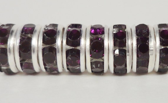 Rondelle Rhinestone Beads 8mm Deep Purple Silver Plated Metal Acrylic Rhinestone Crystal Spacer Beads for Jewelry Making 50 Loose Beads