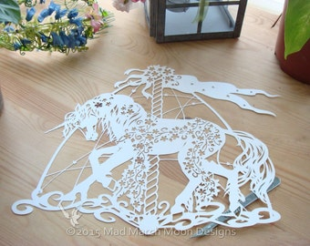 papercut template commercial use Garland the Carousel Unicorn. pdf instant download
