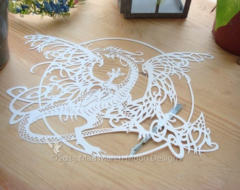 Tangle Dragon Personal use Papercut TEMPLATE .PDF download