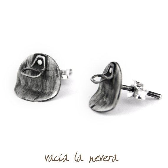 Pendientes originales, pendientes pequeños, plata oxidada. Joyería contemporánea. Pendientes redondos