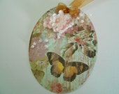 """4 Set OVAL GIFT TAGS - Flowers, Butterfly's, and Pearl Gift Tags - 3-1/2""""   x  2-3/4"""" - Handmade Gift Tags"""