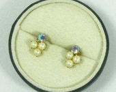 Vintage Pearl and Rhinestone Pierced Earrings/Everythingoff 20 Coupon Code