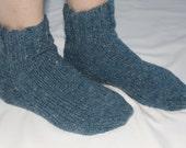 Wool Knit Socks -100% Bartlett Wool - Ankle Socks - Blue Denim - Womens Size 7-8