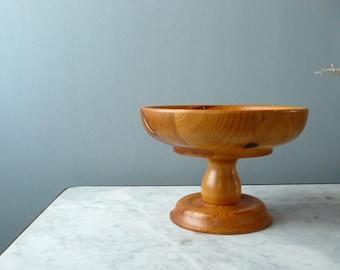 Vintage wood fruit stand. pedestal bowl centerpiece. dessert stand. rustic kitchen