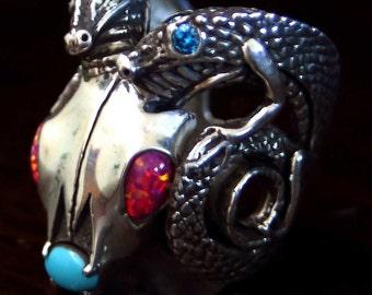 Custom Ram Skull Twin Dragons Men's Ring