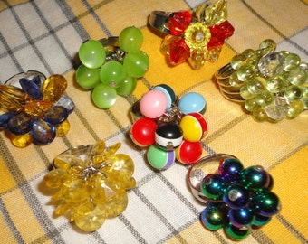 Lot of 7 Beaded Bobble Rings